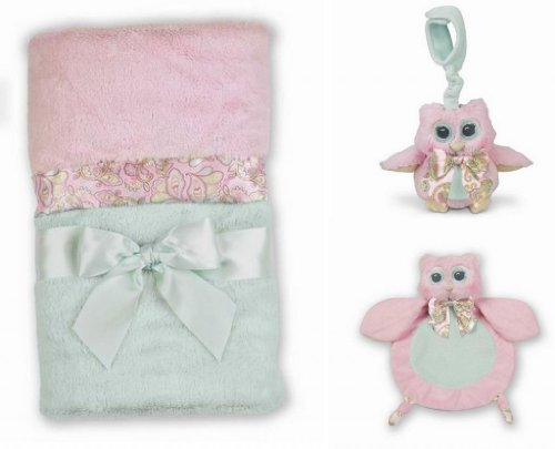 Hoots Owl Crib Blanket, Wee Blanket, and Stroller Toy Set - 1