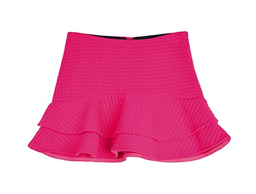queenneeup Women's Quilted Flare Mini Skirt, Small, Hot Pink (Womens Quilted Mini Skirt compare prices)