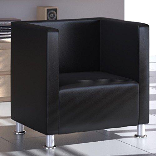 Poltrona design girevole quadrata pelle nera