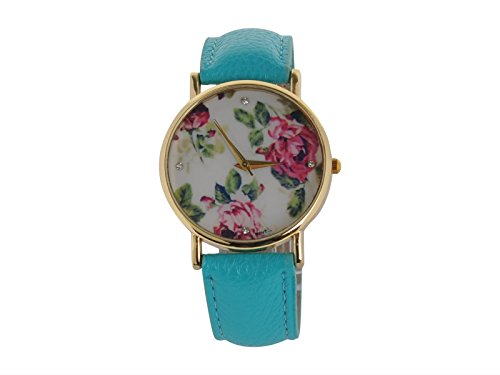 Egoodbest Band Watch Fashionable Women Ladies Golden Alloy Case Printing Flower Pu Leather Band Quartz Wrist Watch