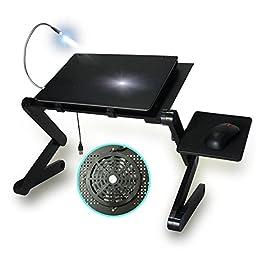 HZMK Portable Adjustable Aluminum Laptop Desk For Bed w/Cooler Fan/ Mouse Pad /LED Light