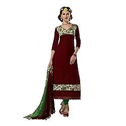 Resham Fabrics Maroon Chanderi & Bhagalpuri Dress Material