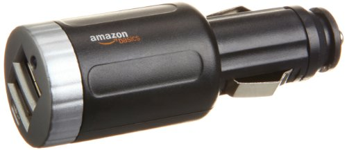 AmazonBasics 2-Port USB Car Charger with 2.1 Amp Output (Black)