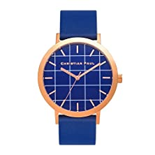 buy Christian Paul Gr-07 Men'S Stainless Steel Blue Leather Band Blue Dial Watch