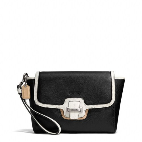 Coach   Black Coach F50157 Taylor Spectator Leather Flap Clutch