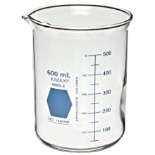 Kimble Kimax 14000R-600 Glass Low Form Griffin Beaker with Double Capacity Scale, 50-500mL Graduation Interval, 600mL Capacity, 50mL Graduation, Red (Case of 6)
