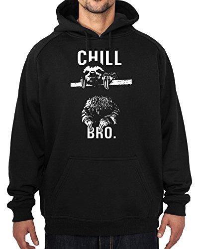Chill Bro da uomo con cappuccio, in cotone, misure S-XXL Stampato professionalmente, nero, x-large