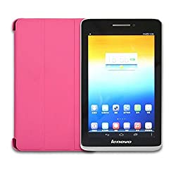 SPL Premium Quality Artificial Leather Tri-fold Book Stand Cover + HD Clear Screen Guard For Lenovo IdeaTab S5000 7-Inch -Pink