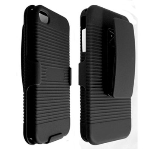 Qtech DHCIP4BK Rubberized Ribbed Texture Shell and Holster with Fixed Ratching Belt Clip for Apple iPhone 4/4S - 1 Pack - Carrying Case - Retail Packaging - Black (Iphone 4s Case And Clip compare prices)