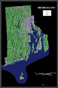 "Rhode Island from space satellite map, print, poster, photo: 24"" x 36"" Glossy"