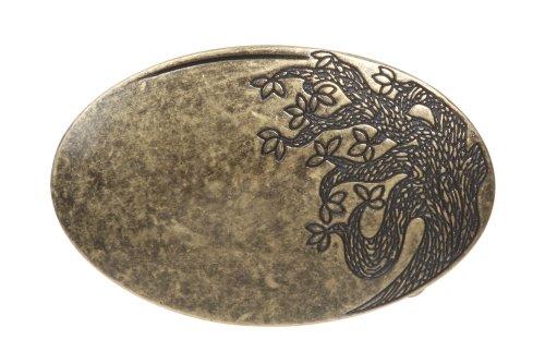 BELTISCOOL Oval Flower Tree Engraving Brass Belt Buckle