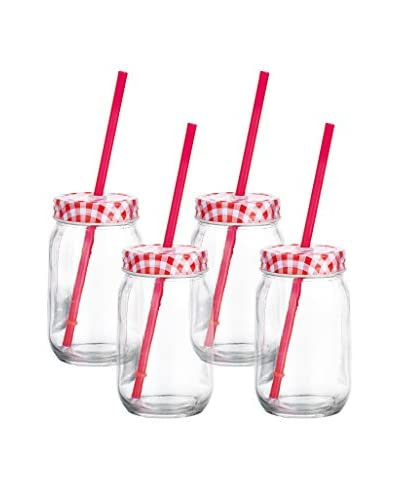 Home Essentials Set of 4 Red Gingham Mason Drinking Jars with Straws, Clear