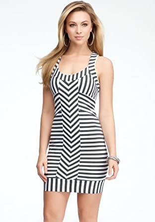 bebe Striped Racerback Tank Dress Day Dresses Med Hgrey/white-m