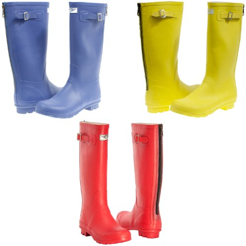 Women's Tall Mid Calf Rain & Snow Rubber Boots - Classic Zipper Design