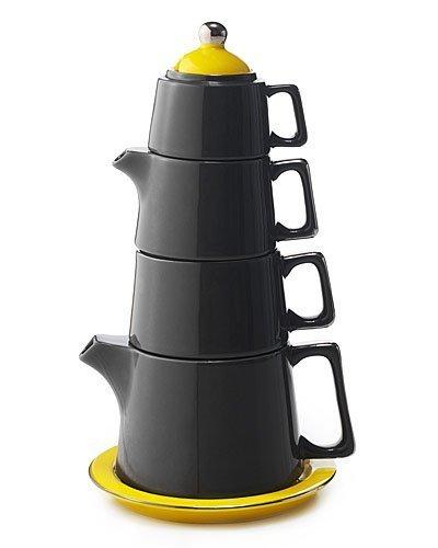 Classic Coffee & Tea Tower Tea Set, Dark Grey/Yellow