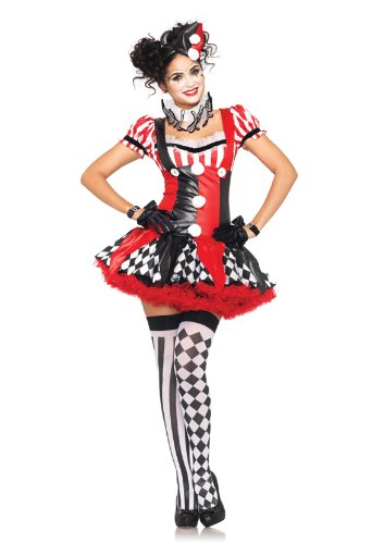 Leg Avenue Women's 3 Piece Harlequin Clown Suspender Dress with Ruffle Neck Piece And Hat