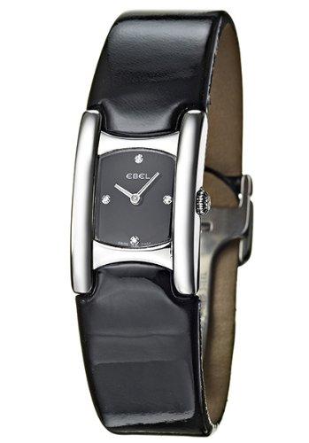 Ebel - Beluga Manchette - 9057A21-5635406- Montre Femme - Acier - Quartz Analogique - 4 index Diamant - Bracelet Cuir Verni Noir