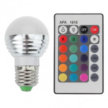 Pakhuis E27 3W 16 Farbwechsel RGB LED Kugel-Birne Lampe 85-265V IR-Fernbedienung