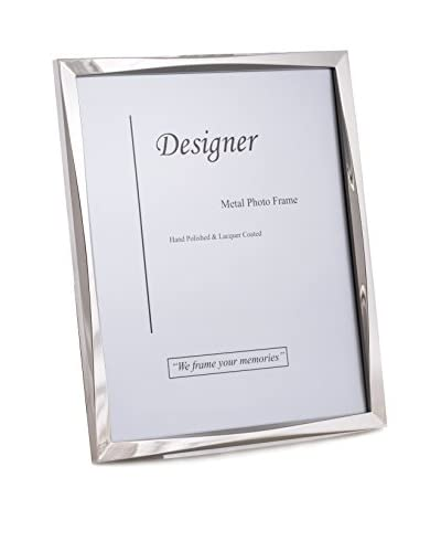 "Bey-Berk Silver-Tone 8"" x 10 Picture Frame with Easel Back"