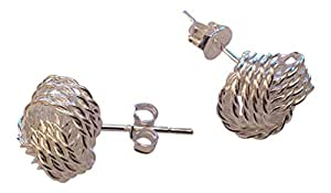 Sexy Beautiful Silver 6mm Knot Stud Earrings by Aminori, Comes in a Branded Aminori Gift Box