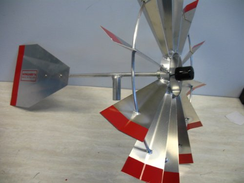 Superb 8 Ft Made In The USA Premium Aluminum Decorative Garden Windmill Red Trim