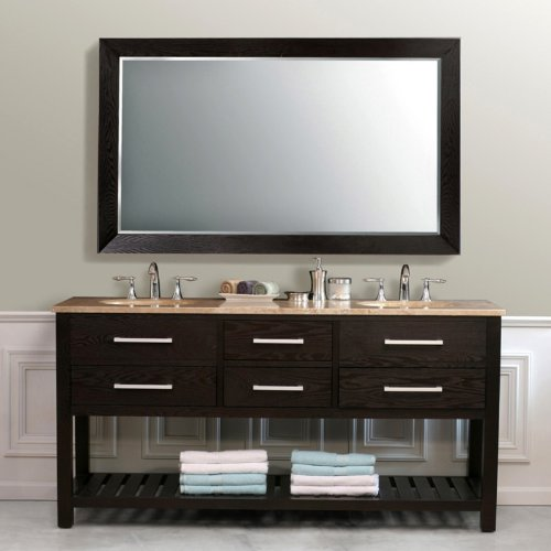 Virtu USA LD-2140-T-DE Clementina 73-Inch Double Sink Bathroom Vanity with Mirror and Ivory Ceramic Basins, Dark Espresso Finish