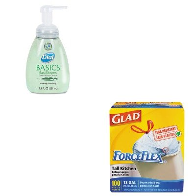 KITCOX70427DPR06042 - Value Kit - Dial Basics Foaming Hand Soap (DPR06042) and Glad ForceFlex Tall-Kitchen Drawstring Bags (COX70427) kitbun6101bwk390 value kit toilet tissue 9quot diameter bun6101 and boardwalk disposable apron bwk390
