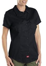 Dickies Women\'s Short Sleeve Work Shirt, Black, Large