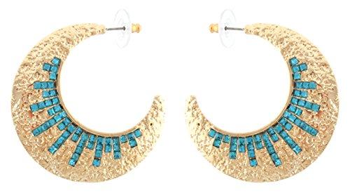Zest Ohrstecker goldene Creolen Ohrringe mit Türkis-Mosaik Swarovski-Kristalle