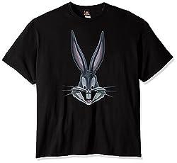 Looney Tunes Men's Poly Bugs Bunny T-Shirt, Black, 4X-Large