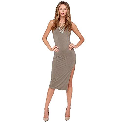 Plusasa Women Fashion European Kink Wound Pierced Thin Split Vest Dress,Brown,S