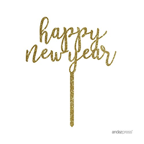 Andaz Press Holiday Acrylic Cake Toppers, Gold Glitter, Happy New Year, 1-Pack, 2017 2018 2019 2020