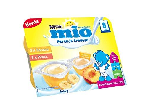 Nestlé Mio Merenda Cremosa Banana e Pesca da 8 Mesi, senza Glutine, 6 Vasetti Plastica da 60 g