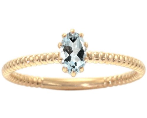 14K Yellow Gold Petite Oval Gemstone Solitaire Stackable Ring-Aquamarine, size5.5