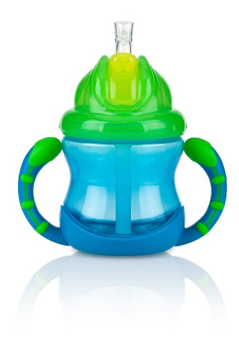 Nuby 2 Handle Flip n' Sip Straw Cup, 8 Ounce, 12 Months Plus, Blue with Green