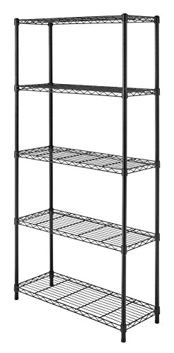 Whitmor 6070-267 Supreme 5-Tier Shelving Unit, Black