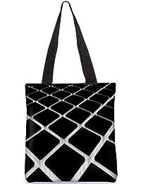 Snoogg Black And Grey Cubes Digitally Printed Utility Tote Bag Handbag Made Of Poly Canvas