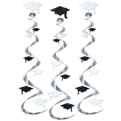 3 Graduation Cap Whirls/GRADUATION Party Hanging Decorations and Supplies