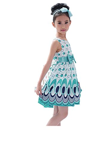VESNIBA Kids Girls Bow Belt Sleeveless Bubble Peacock Dress Party Clothing (M, Blue) (70 Year Old Tshirt compare prices)