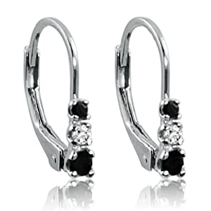 Three-Stone Black and White Diamond Leverback Earrings in Sterling Silver 1/4cttw