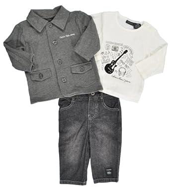 Calvin Klein Newborn Boys Charcoal Grey Cardigan 3Pc Pant Set (3/6M)