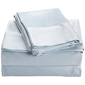 Northpoint 600-Thread Count Cotton Sateen Queen Sheet Set, Blue