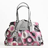 Coach Optic Signature Snaphead Ashley Business Carryall Satchel Bag Purse Tote 15504 Pink Multi