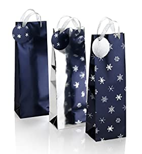 3 Blue & Silver Christmas Bottle Bags