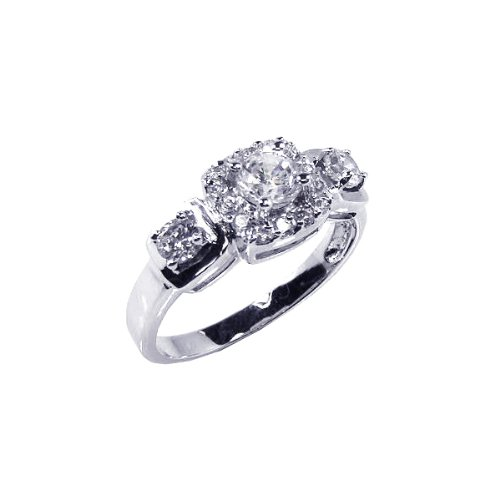 Sterling Silver Round CZ Engagement Ring Size 5