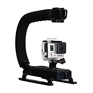 Opteka X-GRIP Professional Camera / Camcorder Action Stabilizing Handle with Accessory Shoe for Flash, Mic, or Video Light (Black)