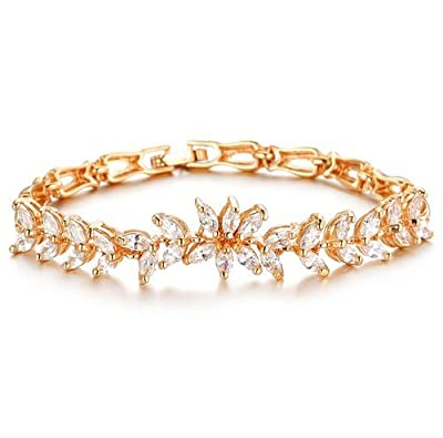 Qinggetme Women Zircon Fine Diamond Plated 18K Gold Wheat Handmade Trinkets Bracelet