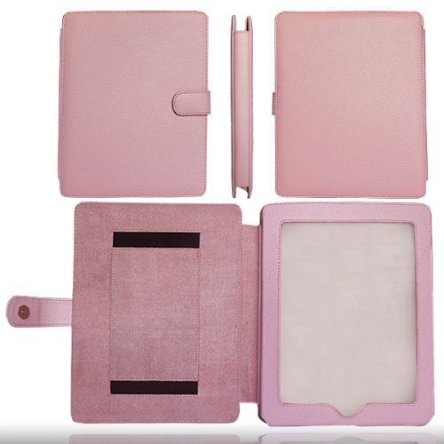 Pretty Pink Genuine Leather Apple iPad Case Cover Portfolio for the Apple iPad Tablet 16GB, 32GB, 64GB Wi-Fi and WiFi + 3G Model
