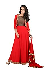 BanoRani Womens Red Color Faux Georgette Zari , Lace Work Anarkali Full Sleeves Semi Stitched Gown with Jacket
