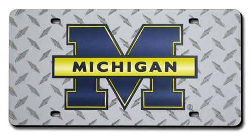 Poster Revolution (6X12) University Of Michigan Wolverines Diamond Cut Tin License Plate